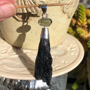 Moldavite Kyanite Sterling Silver Pendant